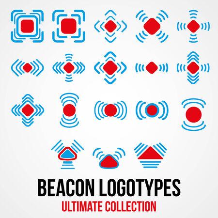 beacon: Set of black beacon icons