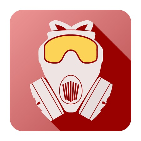 army gas mask: Icono plano de la m�scara de gas Ilustraci�n respirador aislado sobre fondo blanco. Vectores