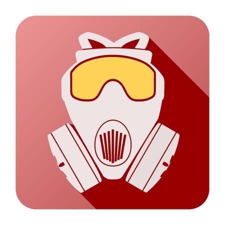 Flat icon of gas mask respirator Illustration Isolated on white background.