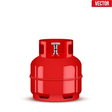 Propane Gas small cylinder Illustration isolated on white background. Vector
