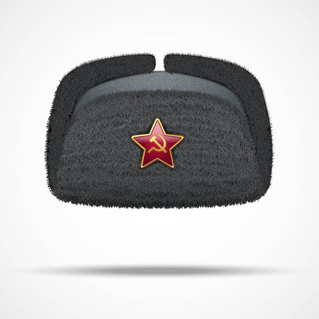 ski wear: Russian black fur winter hat ushanka with red star illustration isolated on white background.