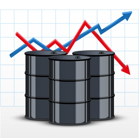 cheaper: Oil barrel on the background graphics prices. The rise in price and cheaper petroleum. Vector Illustration. Illustration