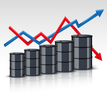 Oil barrel on the background graphics prices. The rise in price and cheaper petroleum. Vector Illustration. Vector
