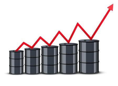 in aumento: Barril de petróleo en los precios de gráficos de fondo. El alza en el petróleo precio. Ilustración del vector.
