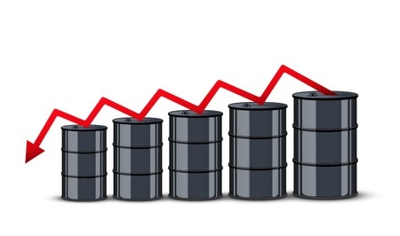 stock quotes: Oil barrel on the background graphics prices. The cheaper petroleum. Vector Illustration. Illustration