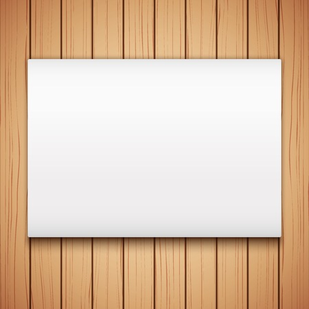 bill board: Wooden plank texture with Empty mockup billboard. Vector Illustration isolated on white background.