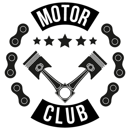 Vintage Motor Club Signs and Label with chain and pistons. Emblem of bikers and riders. Vector