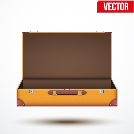 open suitcase: Open Vintage leather travel Suitcase. Vector Illustration isolated on white background.