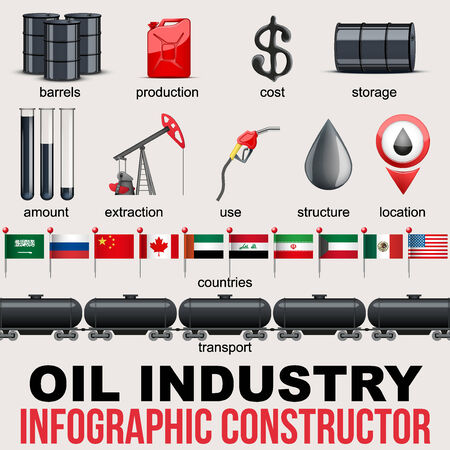 stock quotes: Oil Industry Infographic design Elements. Petroleum production and value in different countries. Vector Illustration. Illustration