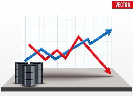 graphisme fond: le baril de p�trole sur les prix les fond graphiques. La hausse des prix et le p�trole moins cher. Vector Illustration.