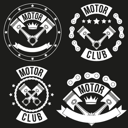 Set of Vintage Motor Club Signs and Label with chain and pistons. Emblem of bikers and riders. Vector isolated on background. Vector