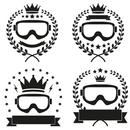 Set of Vintage Ice Hockey Club Badge and Label with helmets.  Vector
