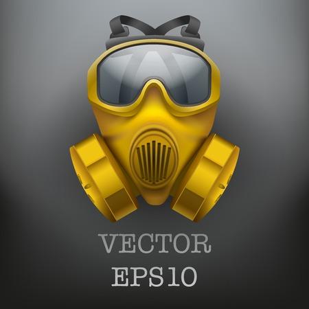 army gas mask: Antecedentes de respirador m�scara de gas antiviral qu�mica segura. Ilustraci�n del vector. Caucho s�mbolo ej�rcito de defensa y proteger. Aislado en el fondo blanco.