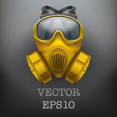 Background of safe chemical antiviral gas mask respirator. Vector illustration. Rubber army symbol of defense and protect. Isolated on white background. Illustration