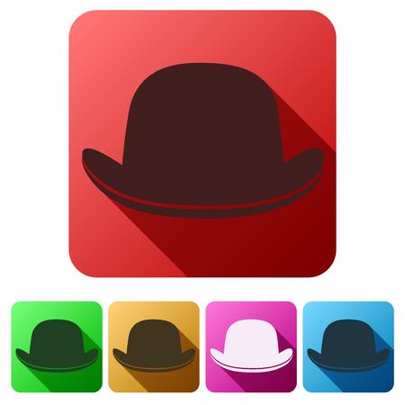 bowler hat: Set Flat icons of black gentleman bowler hat. Vector Illustration Illustration