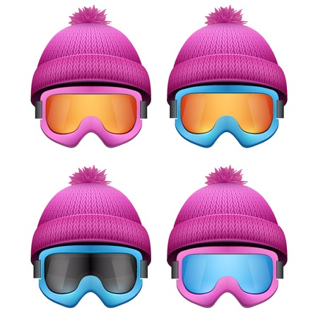 knitten: Set of Knitted woolen pink caps with snow goggles. Winter seasonal sport hat. Vector illustration isolated on white background.