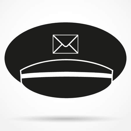 Silhouette symbol of postmans cap traditional symbol. Simple Vector Illustration Isolated on white background.