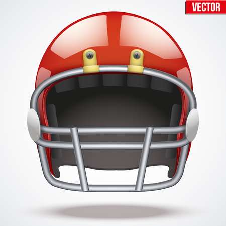 Realistic Red American football helmet with reflex. Equipment sport illustration. Vector Isolated on background. Illustration