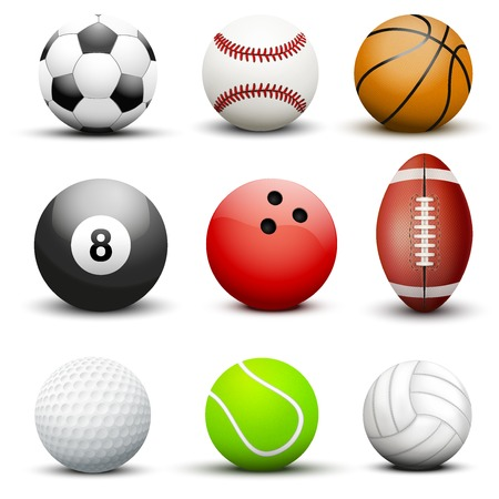 sport balls: Set of most popular sport balls. Vector illustration Isolated on white background. Illustration