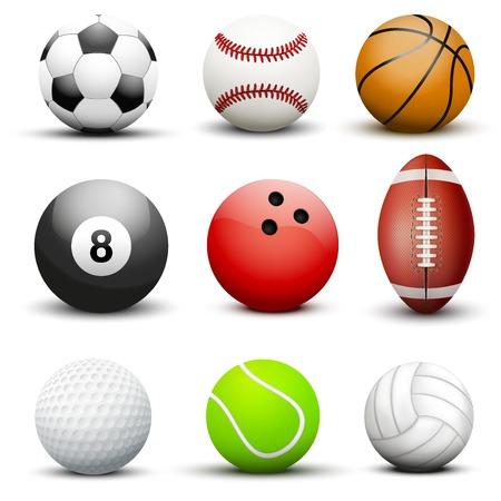 bowling sport: Set of most popular sport balls. Vector illustration Isolated on white background. Illustration