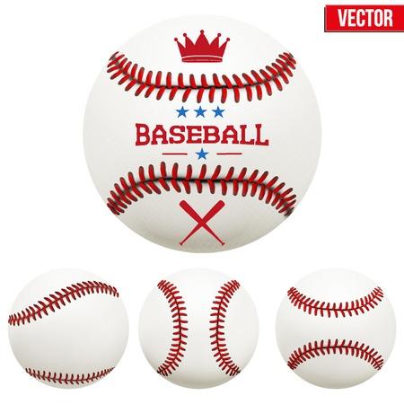 Set of baseball leather balls. Vector Isolated on white background.