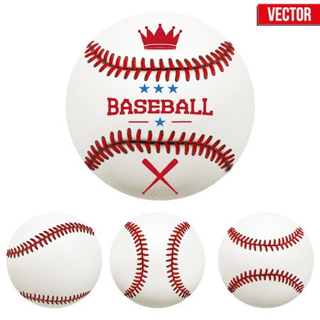 Set of baseball leather balls. Vector Isolated on white background.