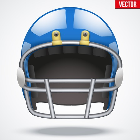 football helmet: Realistic Blue American football helmet with reflex. Equipment sport illustration. Vector Isolated on background.