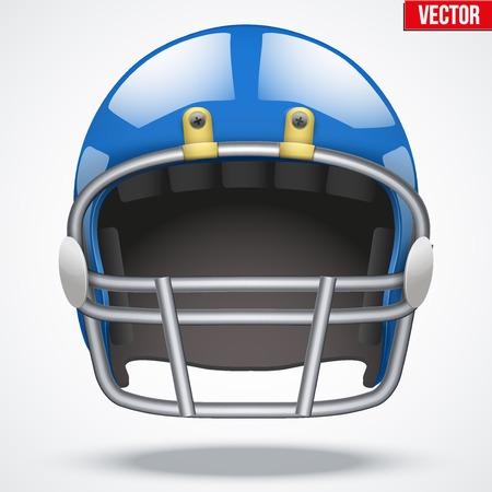 american football helmet: Realistic Blue American football helmet with reflex. Equipment sport illustration. Vector Isolated on background.