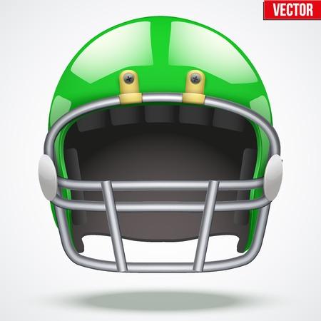 Réaliste vert casque de football américain avec réflexe. Équipement sportif illustration. Vecteur isolé sur fond.