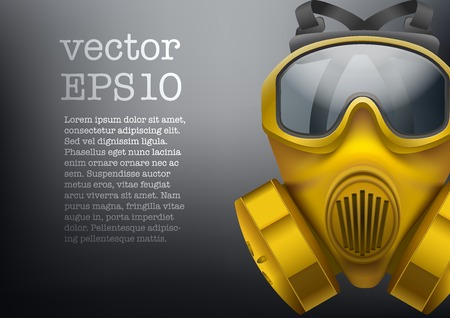 gasmask: Background of safe chemical antiviral gas mask respirator. Vector illustration. Rubber army symbol of defense and protect. Isolated on white background. Illustration