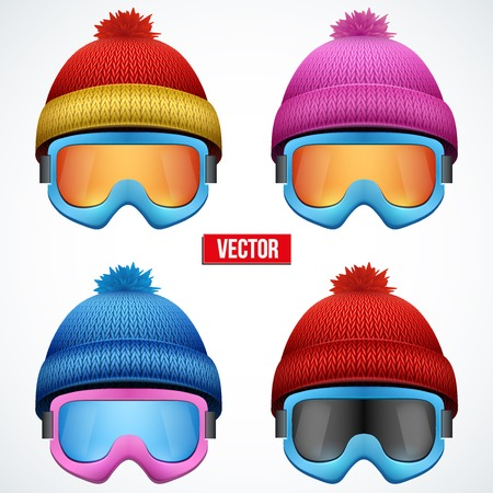 woolen: Set of Knitted woolen cap with snow goggles. Winter seasonal sport hat. Vector illustration isolated on white background.