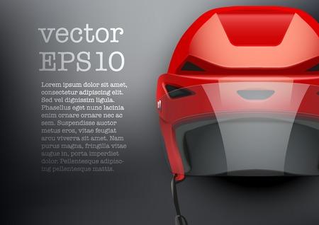 visor: Background of Classic red Ice Hockey Helmet with glass visor. Sports Vector illustration isolated on white background.