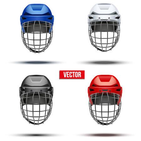 hockey sobre hielo: Conjunto de cl�sico del hockey sobre hielo Casco de diferentes colores. Ilustraci�n Deportes vector aislado en el fondo blanco.