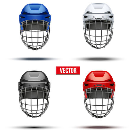 hockey: Set of Classic  Ice Hockey Helmet of different colors. Sports Vector illustration isolated on white background.