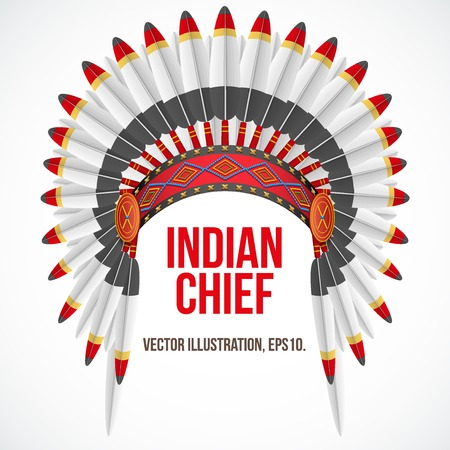 indian chief: Indian chief hat with plumage. Front view. Vector Illustration Isolated on white background.