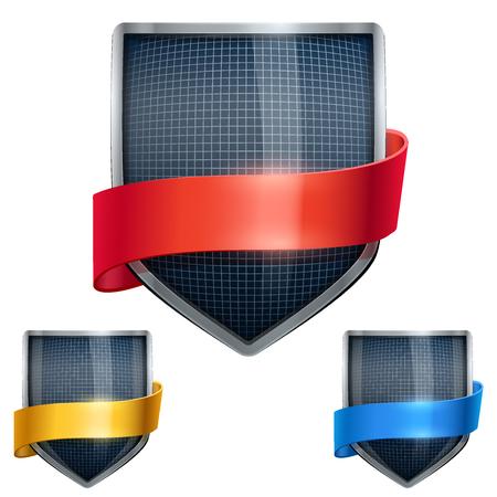 cromo: Conjunto de escudo de metal brillante en el casco de la esgrima en el interior y con cintas. Ilustraci�n editable de vector aislado en el fondo blanco.