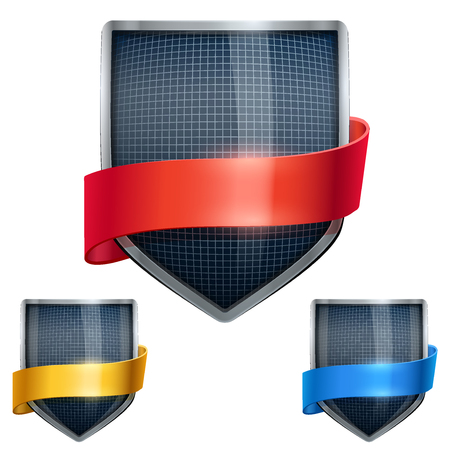 Set of Bright metal shield in the fencing helmet inside and with ribbons. Editable Vector Illustration isolated on white background.