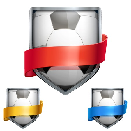 futball: Set of Bright metal shield in the football ball inside and with ribbons. Editable Vector Illustration isolated on white background.