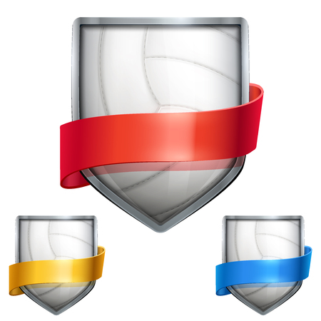 Set of Bright metal shield in the volleyball ball inside and with ribbons. Editable Vector Illustration isolated on white background. Vector