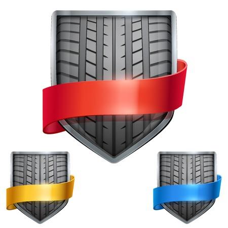 neumaticos: Conjunto de escudo de metal brillante en el neum�tico de carrera dentro y con cintas. Ilustraci�n editable de vector aislado en el fondo blanco.