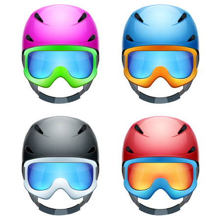 casque: Set of Classic Ski helmets and snowboard goggles. Winter mountain vacation. Vector isolated on white background
