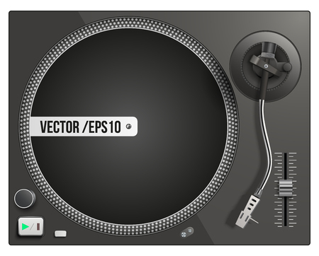 Vector illustration of modern black turntable. Vector isolated on white background
