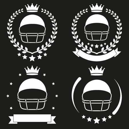 Set of Vintage Football Club Badge and Label with helmet. Emblem of sport team and event. Vector icons isolated on background. Vector