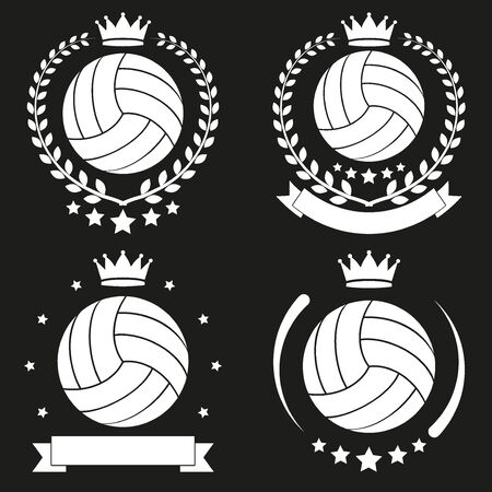 Set of Vintage Volleyball Club Badge and Label with ball. Emblem of sport team and event. Vector icons isolated on background. Vector