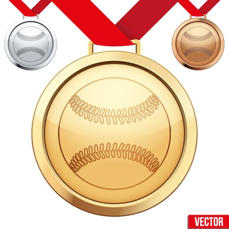 Three Medals with the symbol of a baseball inside. Gold, Silver and Bronze. Vector Illustration isolated on white background. Vector