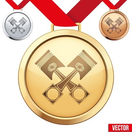 pistones: Tres medallas con el s�mbolo de dentro a pistones. Oro, Plata y Bronce. Ilustraci�n del vector aislado en el fondo blanco.