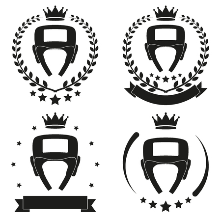 king crown laurel icon round: Set of Vintage Boxing Club Badge and Label with helmet