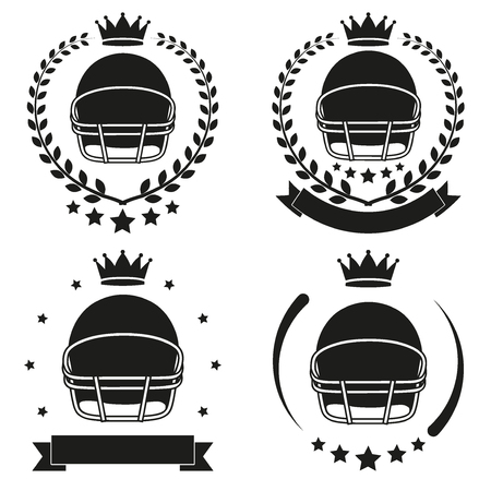 Set of Vintage Football Club Badge and Label with helmet Vector