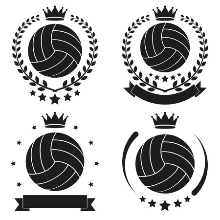 Set of Vintage Volleyball Club Badge and Label with ball Vector