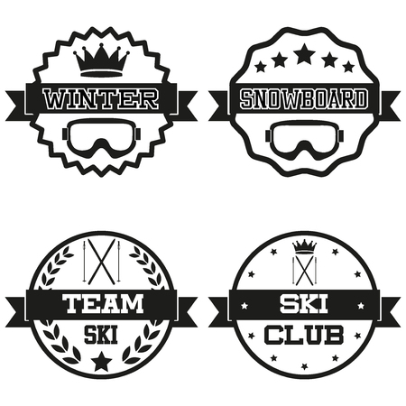 Set of Vintage SKI and Snowboard Club Badge and Label with helmets Vector